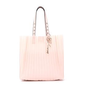 Shopping bag plissettata con pochette interna