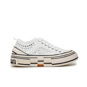 SNEAKERS IN CANVAS SFRANGIATO CON STRASS