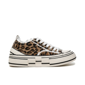 SNEAKERS IN CANVAS SFRANGIATO ANIMALIER CON STRASS