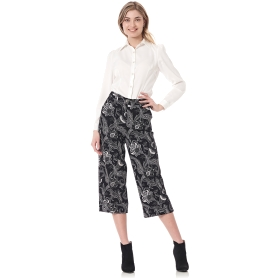 pantaloni coulotte in tessuto superstretch stampato