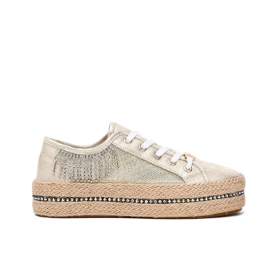 Sneakers in rete lurex con accessorio strass