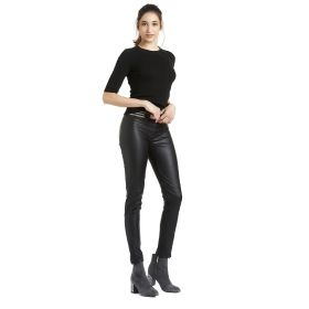 Leggings similpelle con elastico