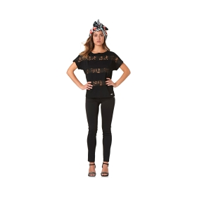 T-shirt con righe in pizzo