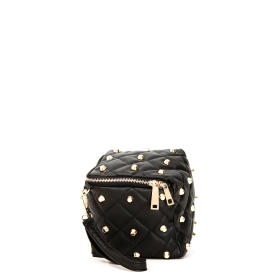 Mini bag cubo con borchie Nero