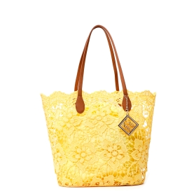 SHOPPING BAG IN PIZZO Giallo TGU