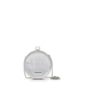 Round clutch bag with sequins