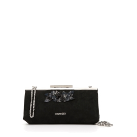 Clutch bag with sequin flower applications