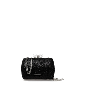 Clutch bag with tone-on-tone embroidery and jewel closure