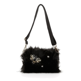 Fake fur shoulder bag with jewelled bee