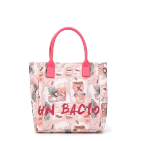 "I Bambini delle Fate: Multicolour shopping bag with ""kiss"" print"