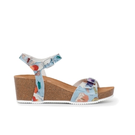I Bambini delle Fate: Multi-colour pattern sandals with wedge