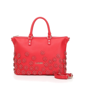 Bowling bag with relief petite flowers