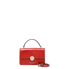 Patent mock crock print mini bag
