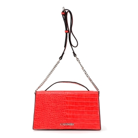 Clutch bag in patent mock crock
