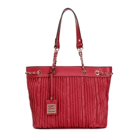 Pleated shopping bag with decorative chains