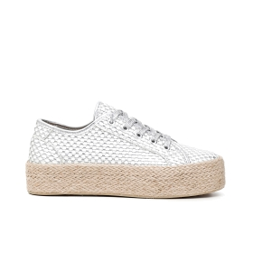 Mesh net sneakers with rope soles