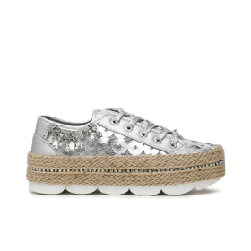 Faux leather sneakers with studs