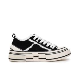 Canvas sneakers with frayed edges