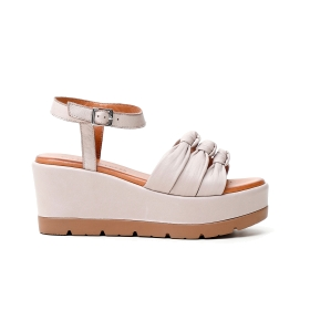 multi-material sandal with ankle laces
