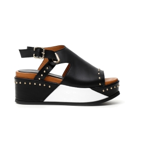 Heels with platform with woven rope and python print faux leather band