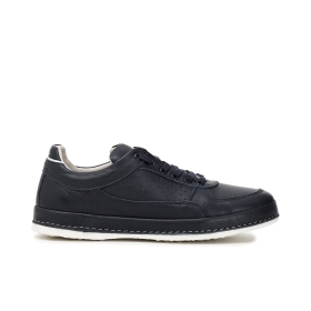 Colour block leather sneakers with micro perforated inserts