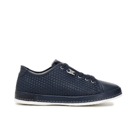 Monochromatic woven leather sneakers