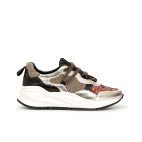 Sneakers in animalier lamé fabric