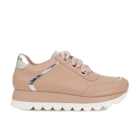 Block colour leather sneakers