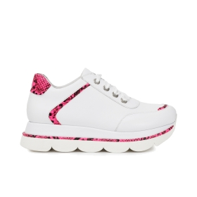 Leather blend and faux leather sneakers with fluorescent python print