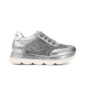 Patent leather and lace sneakers