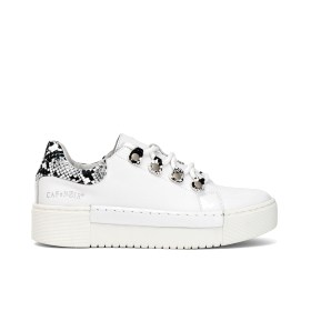 Calfskin sneakers with python appliqué details
