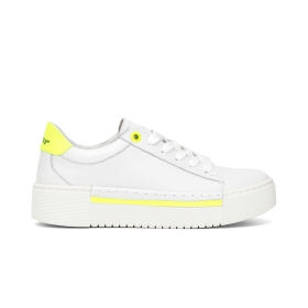 Calfskin sneakers with fluorescent details