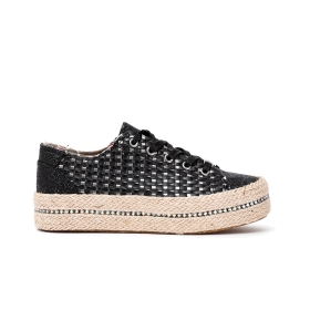Woven faux leather sneakers