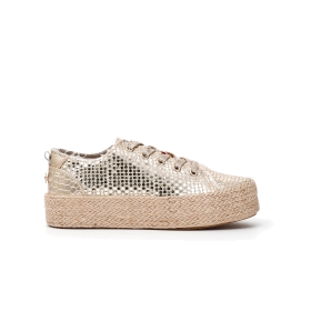 Woven faux patent leather sneakers