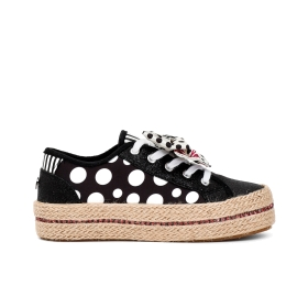 Polka dot fabric sneakers with large bow