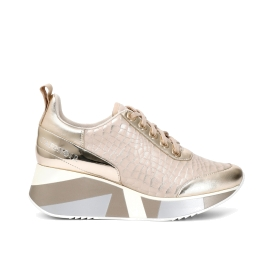 Leather lace-up sneakers with patent mock crock print