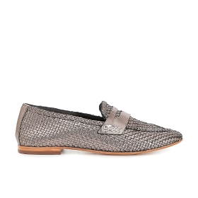 Woven patent leather moccasins