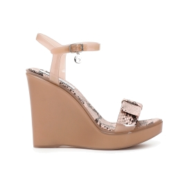 Sandals with wedge in PVC and python strap