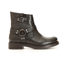 Asymmetric leather ankle boot with ankle strap
