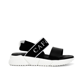 Two-strap sandals with custom elastic on trainer sole