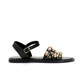 Leather Gilded studded sandals