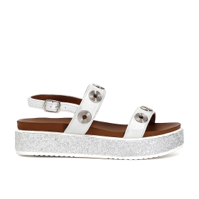 Sandals with double band and rhinestones