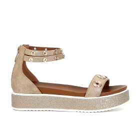 Patent sandals with eyelets and ankle strap