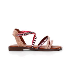 Tall crossover sandals with rhinestones in multi-colour ethnic style