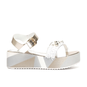 Crossover sandals with decorated wedge