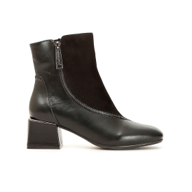 Dual material ankle boots with zipper