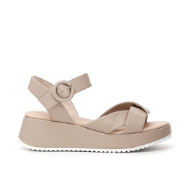 Imitation leather sandals with knot and buckle