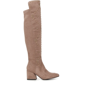 Microfibre long boots with buckles