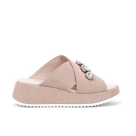 Microfibre slip-on shoes with gems