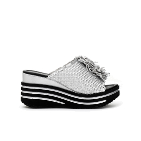 Slip-on shoes with leather braided and ruched wedge on instep
